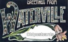 LLT201759 - Waterville USA Large Letter Town Vintage Postcard Old Post Card Antique Postales, Cartes, Kartpostal
