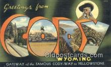 LLT201763 - Cody, Wyoming USA Large Letter Town Vintage Postcard Old Post Card Antique Postales, Cartes, Kartpostal
