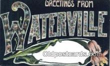 LLT201799 - Waterville USA Large Letter Town Vintage Postcard Old Post Card Antique Postales, Cartes, Kartpostal