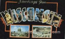 LLT201817 - Wisconsin USA Large Letter Town Vintage Postcard Old Post Card Antique Postales, Cartes, Kartpostal