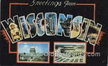 LLT201819 - Wisconsin USA Large Letter Town Vintage Postcard Old Post Card Antique Postales, Cartes, Kartpostal