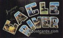 LLT201821 - Eagle River, Wisconsin USA Large Letter Town Vintage Postcard Old Post Card Antique Postales, Cartes, Kartpostal
