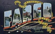 LLT201825 - Fargo, North Dakota USA Large Letter Town Vintage Postcard Old Post Card Antique Postales, Cartes, Kartpostal