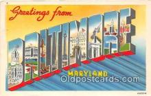 LLT300075 - Baltimore Maryland, USA Postcard Post Cards