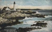 lgh200038 - Portland Head light by light Casco Bay, Portland, Maine Massachusetts USA, Light House, Houses Lighthouse, LightHouses Postcard Postcards