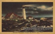 lgh200042 - Moonlight on the Portland Headlight, Cape  Elizabeth, Maine, USA Massachusetts USA, Light House, Houses Lighthouse, LightHouses Postcard Postcards