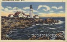 lgh200062 - Portland Head light by light Casco Bay, Portland, Maine Massachusetts USA, Light House, Houses Lighthouse, LightHouses Postcard Postcards