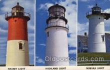 lgh200080 - Old light houses on Cape Cod, Mass, USA Massachusetts USA, Light House, Houses Lighthouse, LightHouses Postcard Postcards