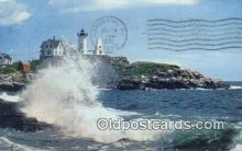 lgh200116 - High Suf, Nubble Light York, ME, USA Postcard Post Cards Old Vintage Antique