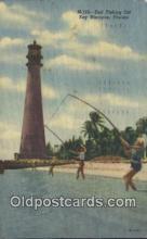 lgh200202 - Surf Fishing Key Biscayne, FL, USA Postcard Post Cards Old Vintage Antique