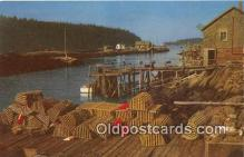 lob001054 - Maine Lobster Men's Wharf Lobster Traps & Buoys Postcard Post Card