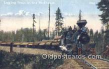 log001032 - Logging Train  Postcard Post Cards Old Vintage Antique