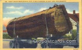 log001080 - Giant Log en Route to Mill Oregon, USA Postcard Post Cards Old Vintage Antique