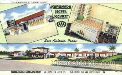 MTL001019 - Koronado Hotel Korts, San Antonio, TX Hotel, Motel Postcard Postcards