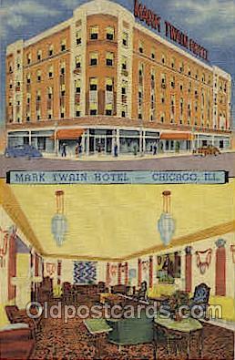 MTL001035 - Mark Twain Hotel, Corner Clark, Chicago, USA Motel Hotel Postcard Postcards