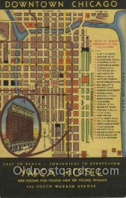 MTL001039 - YMCA Hotel, Wabash Avenue, Chicago, USA Motel Hotel Postcard Postcards