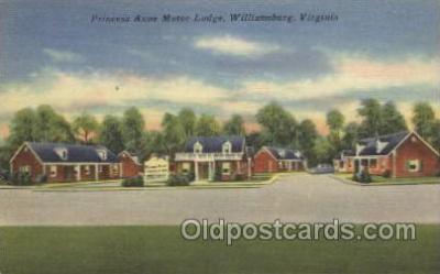 MTL001080 - Princess Anne Motor Lodge, Williamsburg, Virginia, USA Motel Hotel Postcard Postcards