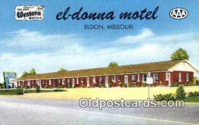 MTL001290 - El-Donna Motel, Eldon, MO, USA Motel Hotel Postcard Post Card Old Vintage Antique