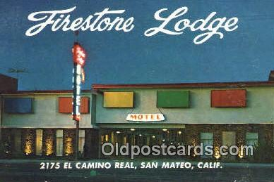 MTL001341 - Firestone Lodge, San Mateo, CA, USA Motel Hotel Postcard Post Card Old Vintage Antique
