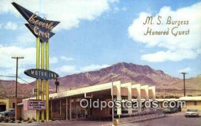 MTL001353 - Beverly Crest Motor Inn, El Paso, TX, USA Motel Hotel Postcard Post Card Old Vintage Antique