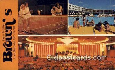 MTL001378 - Charles & Lillian Brown's Hotel, Loch Sheldrake, NY, USA Motel Hotel Postcard Post Card Old Vintage Antique