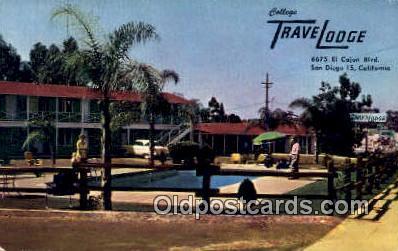 MTL001582 - College Travelodge, San Diego, CA, USA Motel Hotel Postcard Post Card Old Vintage Antique