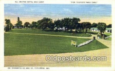 MTL001594 - All States Hotel & Camp, Columbia, MO, USA Motel Hotel Postcard Post Card Old Vintage Antique