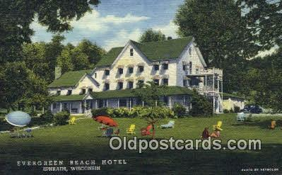 Mtl001617 Evergreen Beach Hotel Ephraim Wi Usa Motel Postcard Post Card