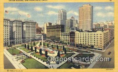 MTL001701 - Hotels St. Francis, Union Square, San Francisco, USA Motel Hotel Postcard Post Card Old Vintage Antique