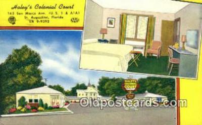 MTL001798 - Haley's Colonial Court, St. Augustine, FL, USA Motel Hotel Postcard Post Card Old Vintage Antique