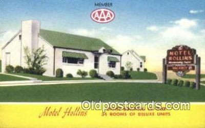 MTL001896 - Motel Hollins, Roanoke, VA, USA Motel Hotel Postcard Post Card Old Vintage Antique