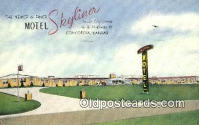 MTL001934 - Motel Skyliner, Concordia, KS, USA Motel Hotel Postcard Post Card Old Vintage Antique