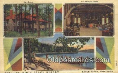 MTL011143 - Phillips Moon Beach resort, Eagle River, Wisconsin, WI USA Hotel Postcard Motel Post Card Old Vintage Antique