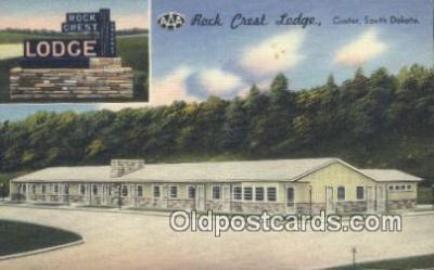 MTL011172 - Rock Crest Lodge, Custer, South Dakota, SD USA Hotel Postcard Motel Post Card Old Vintage Antique