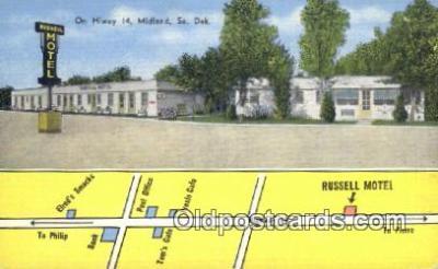 MTL011182 - Russell Motel, Midland, South Dakota, SD USA Hotel Postcard Motel Post Card Old Vintage Antique
