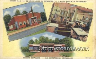 MTL011210 - Moores Brick Cottages, Chester, Virginia, VA USA Hotel Postcard Motel Post Card Old Vintage Antique