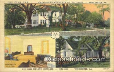 MTL011211 - The Elms Inn, Winchester, Virginia, VA USA Hotel Postcard Motel Post Card Old Vintage Antique