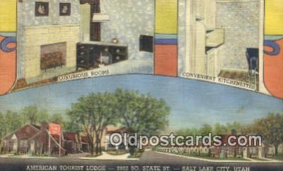 MTL011219 - American Tourist Lodge, Salt Lake City, Utah, UT USA Hotel Postcard Motel Post Card Old Vintage Antique