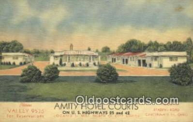 MTL011275 - Amity Hotel Courts, Cincinnati, Ohio, OH USA Hotel Postcard Motel Post Card Old Vintage Antique