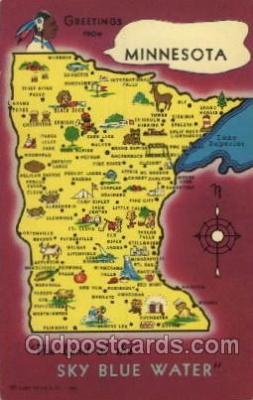 map001010 - Minnesota, USA Map, Maps Postcard Postcards