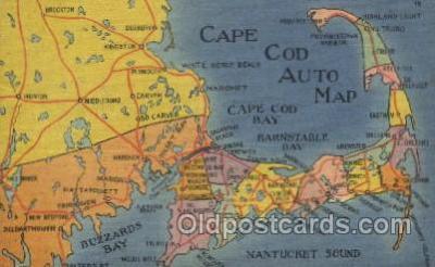 map001077 - Cape Cod, Mass, USA Map, Maps Postcard Postcards