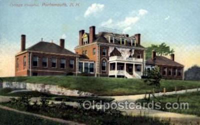med100055 - Cottage Hospital, Portsmouth, New Hampshire, NH, USA, Medical Hospital Postcard Postcards