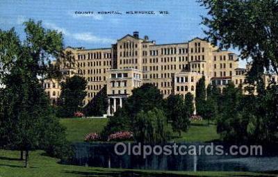 med100459 - County Hospital Milwaukee, WI, USA Postcard Post Cards Old Vintage Antique