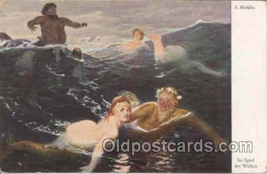 mer001004 - Artist Bocklin, Mermaid, Mermaids Postcard Postcards