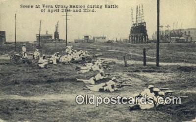 mex001045 - During Battle April 21st & 22nd Mexican War Postcard Post Card Postal Mexicano Guerra tarjetas postales