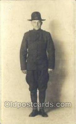 mil025021 - WWI Real Photo Military Soldier in Uniform Post Card Postcard