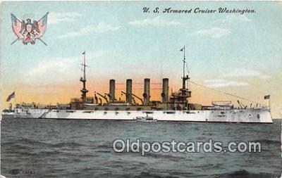 mil050329 - US Armored Cruiser Washington  Postcard Post Card