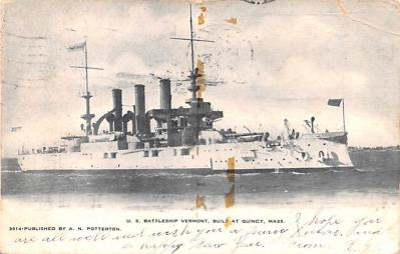 mil051085 - Military Battleship Postcard, Old Vintage Antique Military Ship Post Card