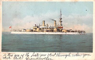 mil051390 - Military Battleship Postcard, Old Vintage Antique Military Ship Post Card