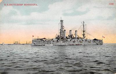 mil051408 - Military Battleship Postcard, Old Vintage Antique Military Ship Post Card
